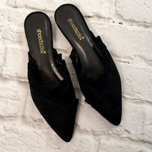 Shoedazzle Black Corrina Ruffled Flat slide 7.5